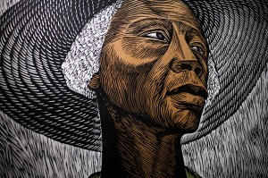 Elizabeth Catlett, the African American sculptor and printmaker, participates in conversation with Henry Louis Gates Jr.
