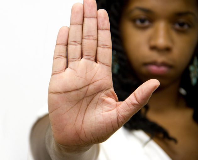 Stop Gesture Of Woman Hand  Sign Serious Facial Expresion